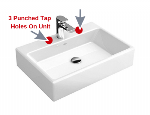 V&B (5135 50 01) 3 Tap Hole Bathroom , Surface Mounted, Basin In White